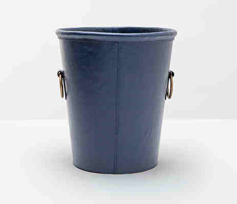 Ogden Leather Wastebasket