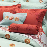 Red Coral & Shell Embroidered Bedding by Anali | Gracious Style