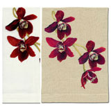 Red Orchid Hand Towels Embroidered Linen | Gracious Style