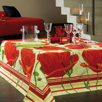 Fleurs de Pavot Red Table Linens