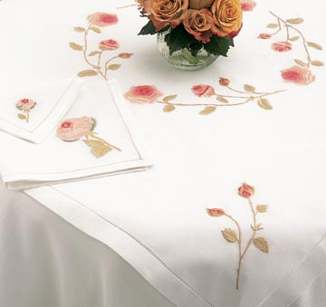 Pink Peach Rose Hand Embroidered Table Linens | Gracious Style
