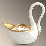 Swans 3.5 in x 3.25 in Salt Cellar and Spoon - White