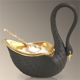 Swans 3.5 in x 3.25 in Salt Cellar and Spoon - Black