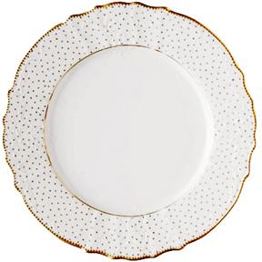 Simply anna polka dot dinnerware gracious style for Gold polka dot china