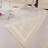Woven cotton table linens in white and ivory | Gracious Style