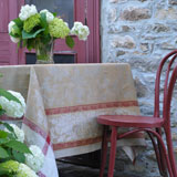 Linen Way Versailles Taupe/Red Table Linens | Gracious Style